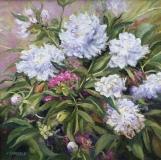 "Linda Sinacola, ""White Peonies"", oil, 18x18, $900"