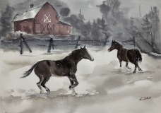 """Lucia Sokol, """"Horsing Around in Blizzard"""", watercolor, 10x14, $425"""