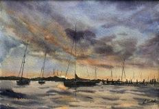 "Lucia Sokol, ""Sunset in Stonington Harbor"", watercolor, 10x14, $425"