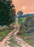 "Mona Stratos, ""Red Sky"", oil, 40x30, $2,400"
