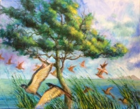 "Jac Venza, ""The Marsh at Migration"", acrylic, 18x14, $1,000"