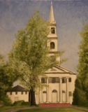 """Wesley Vietzke, """"Church at Old Lyme 2021"""", oil, 16x20, $350"""