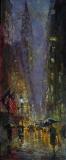 "Christopher Zhang, ""Rainy Evening"", oil, 30x12, $4,900"