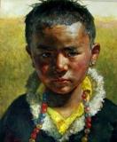 "Christopher Zhang, ""Tibetan Boy"", oil, 36x30, $16,000"