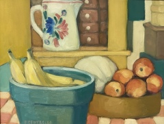 "Michael Centrella, ""Bananas, Cantaloupe, and Peaches"", oil, 14x18, $800"