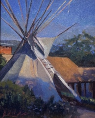 "Jacqueline Jones, ""Teepee at Dusk"", oil, 8x10, $975"