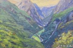 """Jacqueline Jones, """"Stalheim View"""", oil, 6x8, $600"""