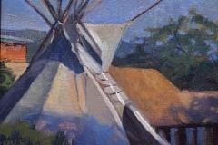 """Jacqueline Jones, """"Teepee at Dusk"""", oil, 8x10, $975"""