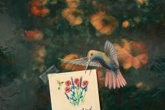 "Len Swec, ""Little Bird"", acrylic, 16x16, $1,800"