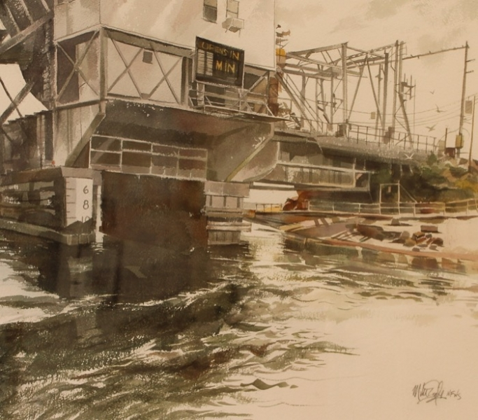 Eagle Niantic River Bridge watercolor