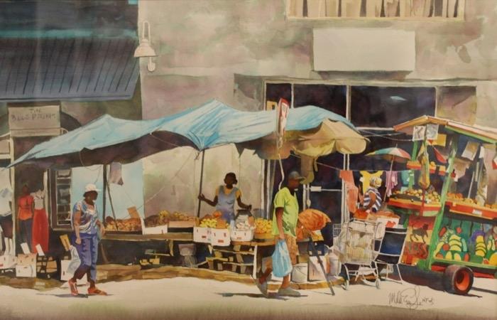 Eagle Street Market Bridgetown watercolor