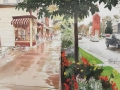 Eagle Rain on Queen Street watercolor