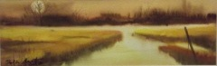 "Ralph Acosta, ""Evening Marsh"", watercolor, 10x3.5, $300"