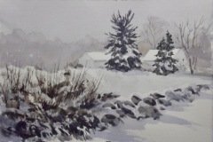 "Ralph Acosta, ""Misty Morning"", watercolor, 11x7.5, $325"