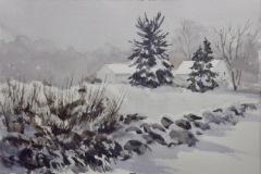 "Ralph Acosta, ""Misty Morning"", watercolor, 11x7.5, $325"