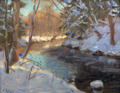 "Thomas Adkins, ""Winter Stream"", oil, 8x12, $650"