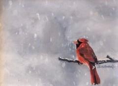 "Dawn Bisharat, ""A Winter Moment"", acrylic, 6x8, $250"