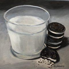 "Dawn Bisharat, ""Milk and Cookies"", acrylic, 8x8, $225"