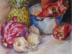 "Terry Bogan, ""Red Pepper Soup"", watercolor, 16x20, $350"
