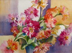 "Terry Bogan, ""Zinnia Dance"", watercolor, 19x23, $450"