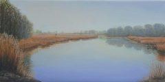 """Linda Boisvert-DeStefanis, """"Lyme Marsh"""", oil, 12x24, $1,150"""