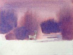 """Kay Brigante, """"Quiet Footsteps"""", watercolor, 8 x 6, $100"""