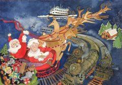"Kay Brigante, ""Steam Trains at Christmas"", watercolor, 18x24, $950"