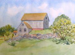 "Joan Carew, ""Pleasant Barnyard"", watercolor, 12x16, $300"