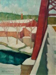 "Michael Centrella, ""Farmington Factory Town"", oil, 16 x 12, $57"