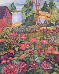 """Katherine Clarkson, """"Backyard with Zinnias"""", watercolor, 9x12, $500"""