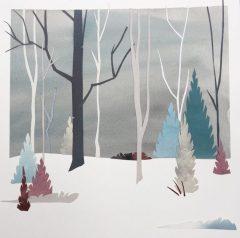 """Anne Coffey, """"Snowbound"""", collage, 16x16, $300"""