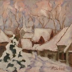 "Patricia Corbett, ""In the Lane"", oil, 5x5, $325"