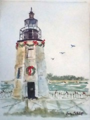"Jane Critchett, ""Decked Out"", watercolor, 14x12, $240"