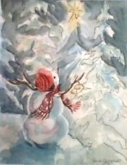"Jane Critchett, ""Winter Wonderland"", watercolor, 10x8, $220"