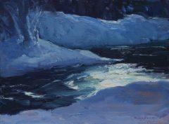 """Rick Daskam, """"Winter Stream Sun Glare"""", oil, 9x12, $950"""