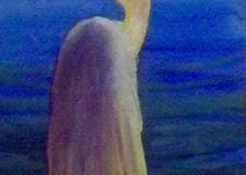 "Ralph Acosta, ""Egret"", watercolor, 5x14, $400"