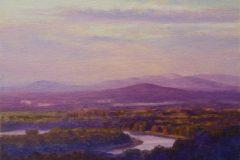 "Lynne Adams, ""Oxbow Sunset"", oil, 6x6, $375"