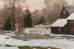 """Zufar Bikbov, """"December Night at Farm"""", oil, 5x7, $490"""