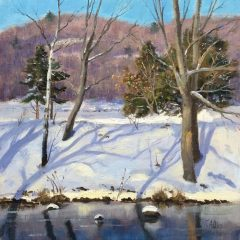 """Thomas Adkins, """"Winter Reflections and Shadows"""", Oil on Linen, 12x12, $1,800"""