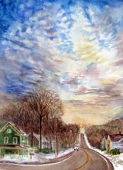 """Christine Anderson, """"Logger Hill"""", watercolor, 15x11, $250"""