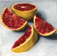 "Dawn Bisharat, ""Sliced"", Acrylic, 6x6, $325"