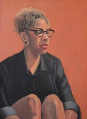 "Diane Chandler, ""Jodi (Orange and Black)"", oil, 24x18, $700"