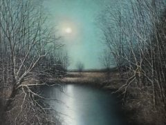 "Stephen Linde, ""Moonlit Marsh"", Pastel, 18.75x16, $1,400"