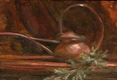 "Alicia Melluzzo, ""Copper Watering Can"", oil, 4x6, $650"