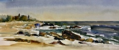 "Lisa Miceli, ""South Beach, Fisher's Island"", Watercolor on paper, 9x21, $600"