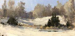 "Howard Park, ""Stonington Meadows in January"", Oil on board, 12x24, $2,000"