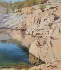 "Caleb Stone, ""Autumn Afternoon Flat Ledge Quarry"", oil, 16x14, $2,000"