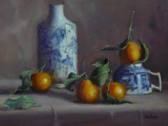 "Joan Wallace, ""Merry Mandarins"", oil, 12x16, $550"