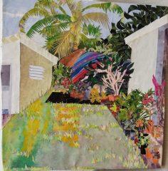"Candice Weigle-Spier, ""Backyard, Flamenco Beach"", Collaged cut paper on plywood., 10.5x10.5, $450"