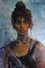 """Christopher Zhang, """"Silver"""", oil, 25x18, $4,900"""